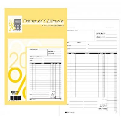 Blocco Fatture 1 Aliquota A5 33 x 3 copie