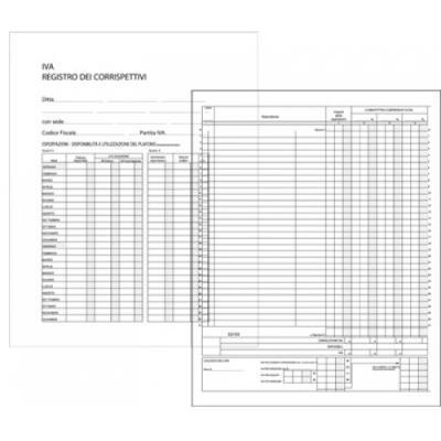 Registro Corrispettivi 47 Pagine - formato 31 x 24,5 cm.